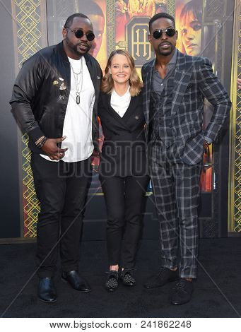 LOS ANGELES - MAY 19:  Brian Tyree Henry, Jodie Foster and Sterling K. Brown arrives for the 'Hotel Artemis' Hollywood Premiere on May 19, 2018 in Westwood, CA
