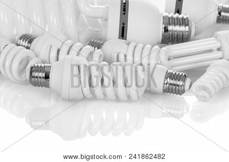 Compact, Fluorescent, Energy-saving Light Bulbs Of Different Power, Isolated On White Background