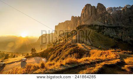 Dolomites, Italy Landscape At Passo Gardena With Majestic Sella Mountain Group In Northwestern Dolom