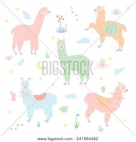 Vector Set Of Characters. Illustration Of South America Cute Lama. Isolated Outline Cartoon Baby Lla