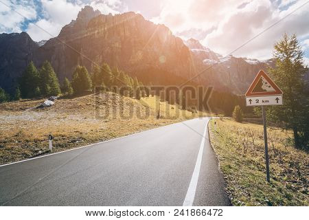 Mountain Road Highway Of Dolomite Mountain - Italy