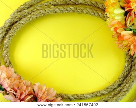 Space Background For Copy With Robe Border And Artificial Daisy Flowers Decor