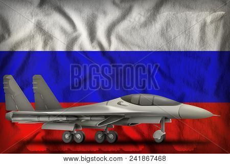 Fighter, Interceptor On The Russia Flag Background. 3d Illustration