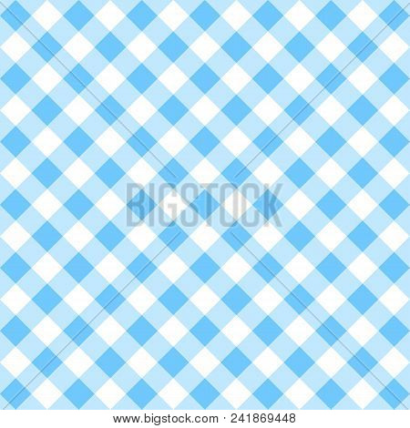 Seamless Checkered Seamless Pattern. Blue And White Tablecloth Background. Picnic Gingham Cloth Temp