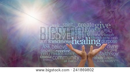 Shine Your Healing Light Word Cloud - Female Hands Reaching Up To The Word Healing Surrounded By A R