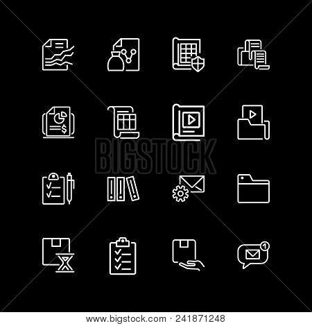 Set Of Data Storage Line Icons. Folder, Exchange, File, Archive. File System Concept. Vector Illustr