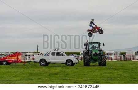 Anglesey, Uk: Feb 20, 2018: The Kangaroo Kid Display Team Perform Stunts Using A Quad Bike At The An
