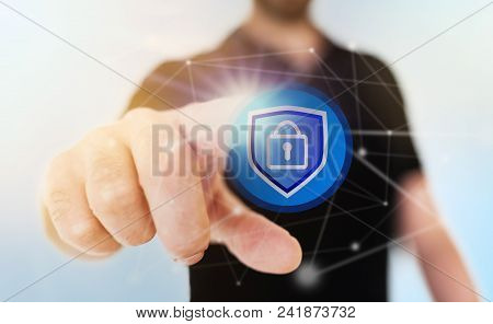Network Security Concept With Businessman Touching Padlock Icon On Translucent Touch Screen, Digital