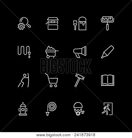 Set Of Work Tool, Paint, Hose, Gas Mask Line Icons. Gavel, Pen, Note. Occupation Concept. Vector Ill