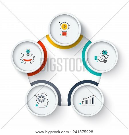 Business Data Visualization. Circle Elements Of Cycle Diagram With 5 Steps, Options, Parts Or Proces