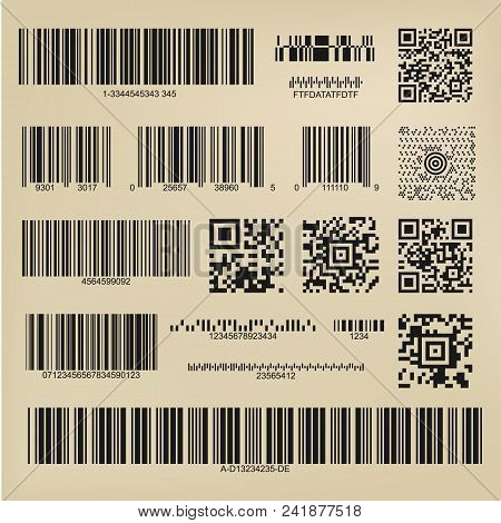 Set Or 3d Codes. Qr Codes And Barcodes. Digital Payment And Information Data Labels