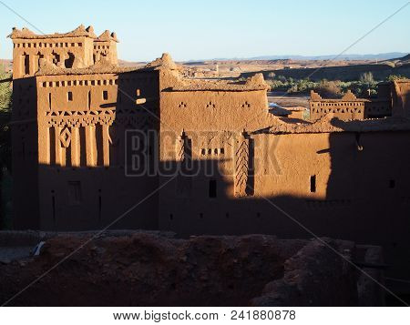 View Of Kasbah Ait Ben Haddou Or Benhaddou Fortified City With Evening Sun Light On Walls, African A