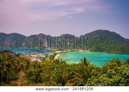 Panoramic View Over The Tonsai Village And The Mountains Of Koh Phi Phi Island In The Krabi Province