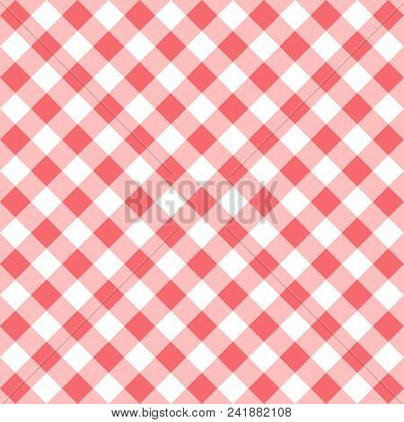 Seamless Checkered Seamless Pattern. Red And White Tablecloth Background. Picnic Gingham Cloth Templ