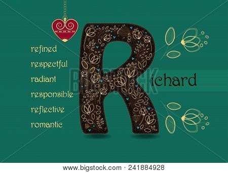 Name Day Card For Richard. Brown Letter R With Golden Floral Decor. Vintage Red Heart With Chain. Wo