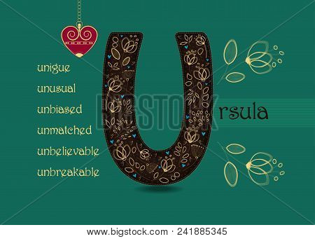 Name Day Card For Ursula. Artistic Brown Letter U With Golden Floral Decor. Vintage Heart With Chain