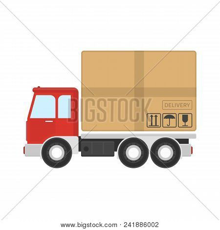 Delivery Truck Service Icon. Express Delivery Service Concept. Simple Truck With Brown Cardboard Box