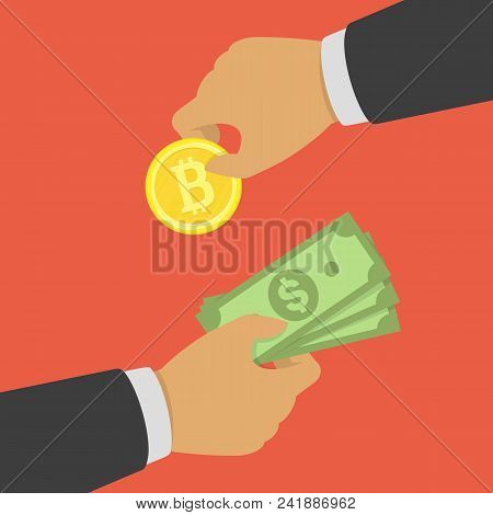 Buying Bitcoin With Cash. Cryptocurrency, Business Technology, Bitcoin Exchange Concept. First Hand