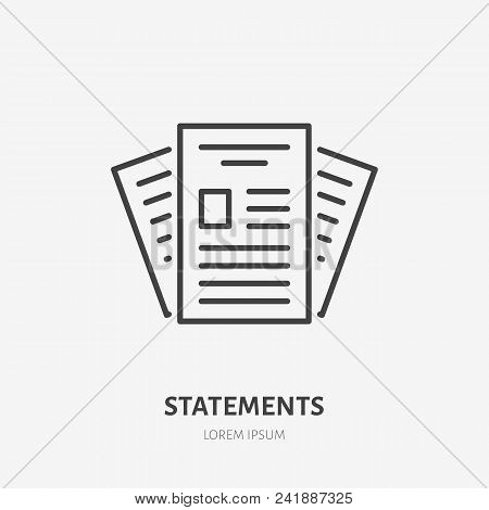 Statement Flat Line Icon. Paper Documents Sign. Thin Linear Logo For Legal Financial Services, Accou