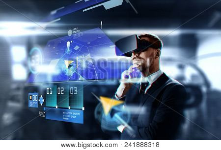 business, augmented reality and future technology concept - businessman in virtual headset with gps navigator map on screen over abstract background