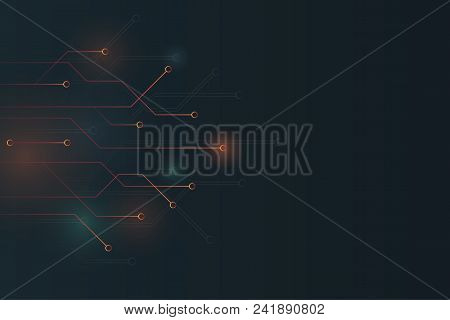 Abstract Glow In Dark Circuit Board Technology Background.