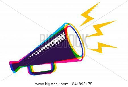 Vector Vintage Poster With Retro Megaphone In Cmyk Colors. Vector Megaphone In Cmyk Style.