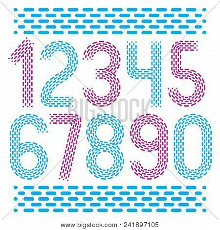 Vector Numbers, Modern Numerals Set. Rounded Bold Retro Numeration From 0 To 9 Can Be Used For Logo