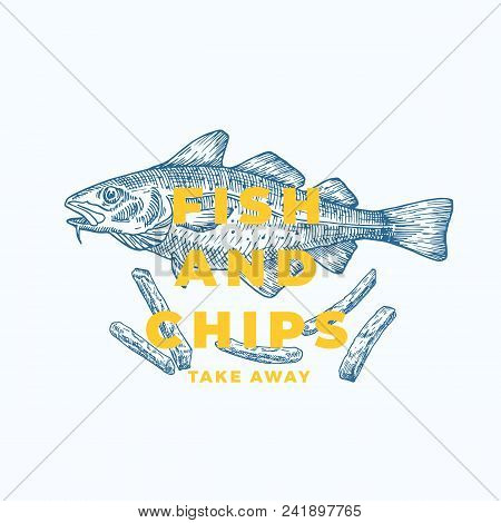 Fish And Chips Abstract Vector Sign, Symbol Or Logo Template. Hand Drawn Cod Fish And Potato Fries W