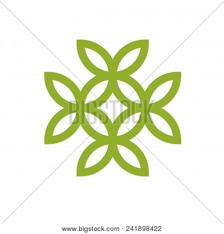 Green Leaves Isolated On White Background. Healthy Lifestyle Conceptual Icon For Use In Medical Trea