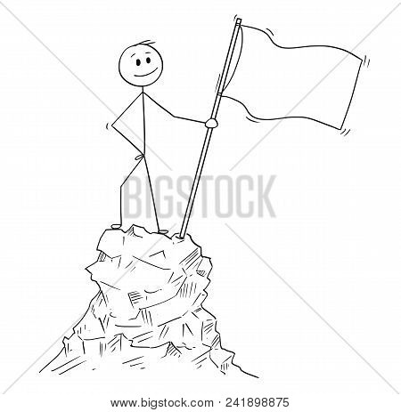 Cartoon Stick Man Drawing Conceptual Illustration Of Businessman Standing With Flag On Peak Or Top O