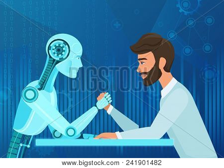 Vector Cartoon Human Businessman Office Manager Man Vs Robot Artificial Intelligence Pulling Rope Co