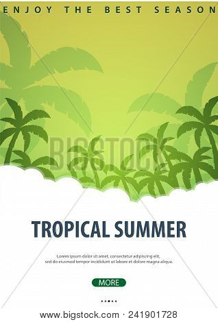 Summer Tropical Background With Palms. Summer Placard Poster Flyer Invitation Card. Summer Time. Vec