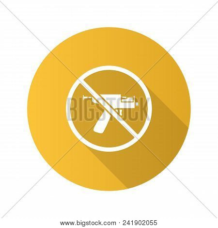 Forbidden Sign With Piercing Gun Flat Design Long Shadow Glyph Icon. No Ear Piercing Instruments Pro