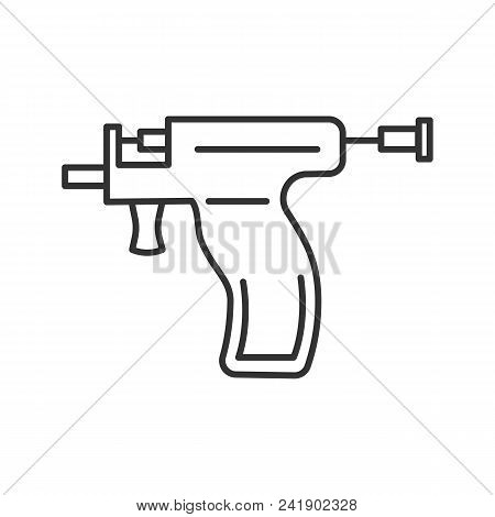 Piercing Gun Linear Icon. Thin Line Illustration. Ear Piercing Instrument. Contour Symbol. Vector Is