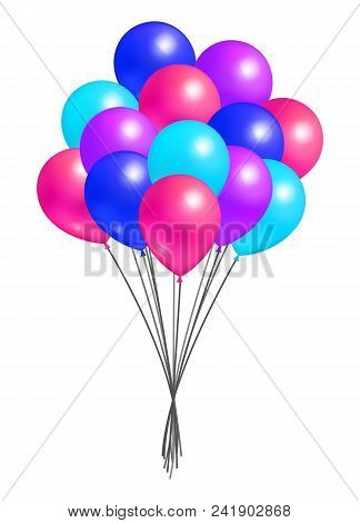 Multicolor Flying Balloon In Bundle Realistic Design Of Inflatable Balloons Of Blue Pink Red And Pur