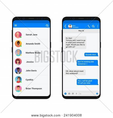 Chating And Messaging Vector Illustration Concept. Social Network Messenger Modern Smartphone Isolat