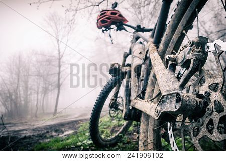 Mountain bike and helmet in autumn woods. MTB dirty bicycle and helmet resting on tree in forest. Adventure and extreme wet mud cycling concept, sport fitness motivation and inspiration. poster