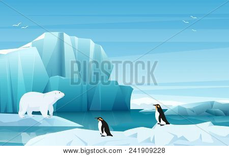 Cartoon Nature Winter Arctic Landscape With Ice Mountains. White Bear And Penguins. Vector Game Styl