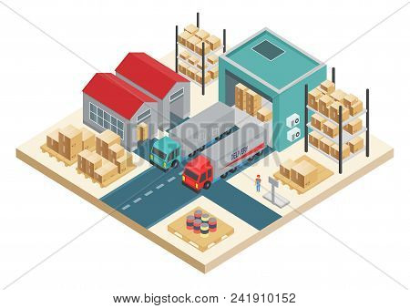 Vector Isometric Transportation Logistic Concept. Distribution Service Concept. Warehouse Storage An