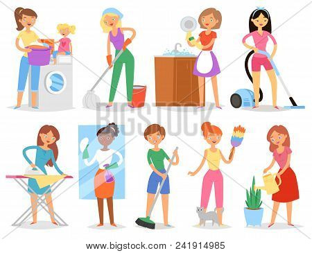 Housewife Vector Woman Housekeeping And Holding House Clean With Vacuum Cleaner And Washing Machine
