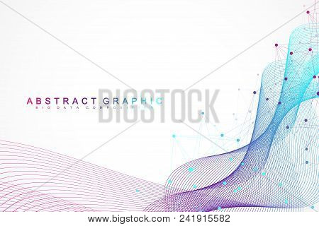 Geometric Abstract Background With Connected Lines And Dots. Wave Flow. Molecule And Communication B
