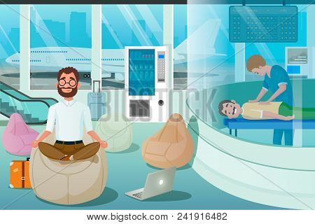 Business Man Relax In Massage Room. Airport Relax Zone For Yoga Recreation Meditation. Wellbeing Fre
