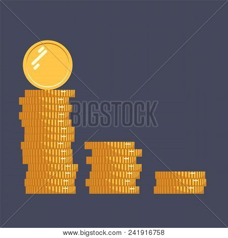 Coins Vector Icon Illustration. Stack Of Coins With Coin In Front Of It. Digital Currency. Flat Styl