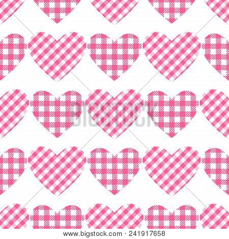 Checkered Hearts Seamless Pattern. Cage Vichy Pattern. Vector Illustration Isolated On White Backgro