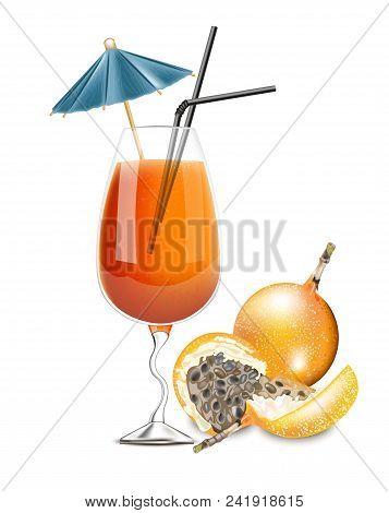 Granadilla Fruit Cocktail Vector. Realistic Tropic Summer Drink Juice 3d Illustration