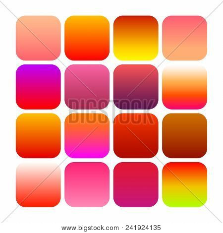 Mobile App Icon Templates Set. Modern Abstract Backgrounds, Bright Vivid Color Gradients. Minimal St