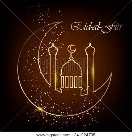 Eid Al Fitr Greeting Card With Line Mosque Dome, Moon And Golden Sand. Eid Mubarak. Vector Illustrat