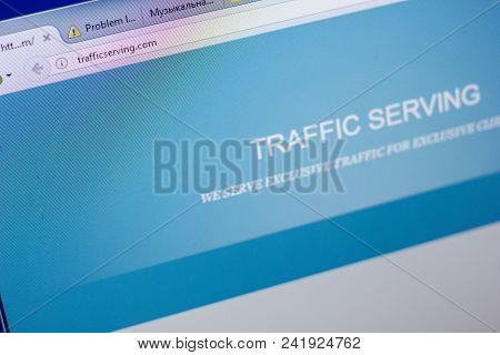 Ryazan, Russia - May 20, 2018: Homepage Of Trafficserving Website On The Display Of Pc, Url - Traffi