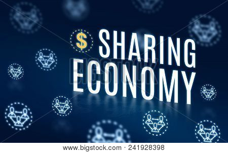 Sharing Economy With Connection People Icon Floating On Navy Blue Tech Background,digital Economy Te