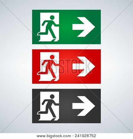 Vector Fire Emergency Icons. Signs Of Evacuations. Fire Emergency Exit In Green And Red. Exit Signs.